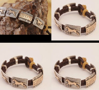 14k Gold, Sterling Silver and Leather Galloping Horse Bracelet.