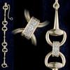 14k Gold Large Snaffle Bit Bracelet with Diamonds