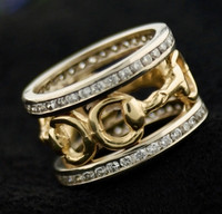 14k White and Yellow Gold Snaffle Bit Ring with Diamonds