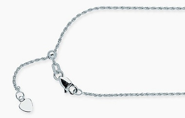 14k White Gold Adjustable Rope Chain