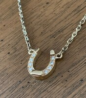 Petite 14k Gold Diamond Horseshoe Necklace
