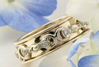 14k Yellow Gold and Diamond Wedding Band Style Ring