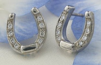 14k WHITE GOLD ONLY Horseshoe Earrings with Diamonds