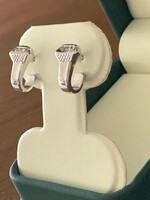 14k White or Yellow Gold Horseshoe Nail Earrings with Diamonds
