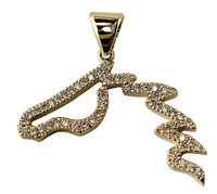 14k White or Yellow Gold  Diamond Horse Head Pendant