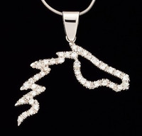14k White Gold and Diamond Horse Pendant
