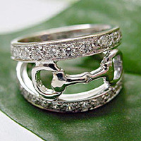 14k White Gold Snaffle Bit Eternity Band Ring with Diamonds