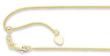 14k Gold Adjustable Wheat Chain