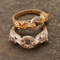 14k Yellow or White Gold Horse Heads Ring