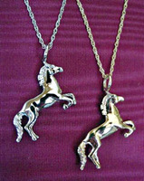 14k Yellow Gold Horse Pendant Necklace.
