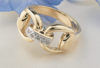 14k Yellow or White Gold Snaffle Bit Ring with Diamonds