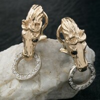 14k Yellow Gold Horse Head Earrings with Diamond Ring