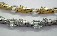 14k Yellow Gold Horse Heads with Diamonds Bracelet
