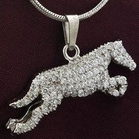 14k Yellow or White Gold and Pav Diamond Jumping Horse Pendant