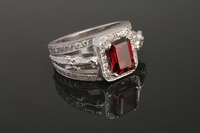 14k Yellow or White Gold Horse Head Ring with Red Garnet and Diamonds