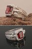14k Yellow or White Gold Horse Head Ring with Ruby and Diamonds