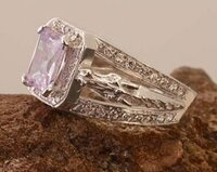 14k Yellow or White Gold Horse Heads Ring with Amethyst and Diamonds