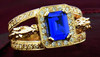 14k Yellow Gold, Sapphire and Diamond Horse Heads Ring
