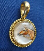 14mm Bay Horse Head Reverse Crystal Pendant