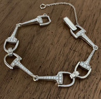 18k Yellow or White Gold Designer Bit Bracelet with Diamonds