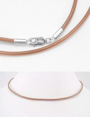 2mm Natural leather Necklace with Sterling Silver Fittings