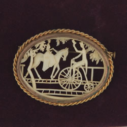Antique Depose France Brooch Pin with Woman on Horse