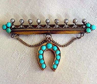 Fancy Antique Gold and Turquoise Horseshoe Pin