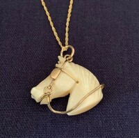 Antique Mother of Pearl Horse Head Fob as a Pendant Necklace