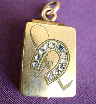 Antique Rose Gold Horseshoe and Whip Locket Pendant
