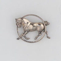 Sterling Silver Trotting Horse in a Circle Pin Brooch