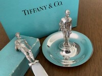 Antique Sterling Silver Tiffany Letter Opener and Dish with Jockey Set