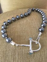 Bright Gray Mother of Pearl Equestrian Neckpiece
