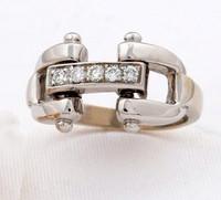 14k White Gold Designer-Style Bit Ring with Diamonds.
