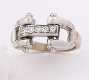 19a68c434 14k White Gold Designer-Style Bit Ring with Diamonds. - Show Stable ...