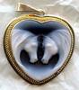 Double Horse Heart Cameo Pendant Necklace