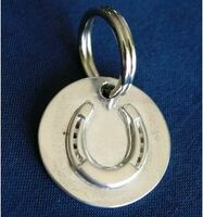 Engravable Medium Sterling Silver Horseshoe Halter Tag, Dog Collar and Personalized Tag