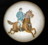 Original Gentleman on a Chestnut Horse on White Bridle Rosette Pin Brooch