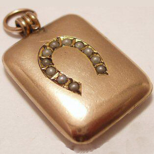 Gold Victorian Pearl Horseshoe Locket Fob
