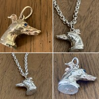 Greyhound Fob Pendant in Sterling Silver with Sapphire Eyes