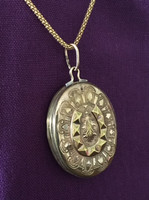 Antique Oval Locket Pendant with Fancy Horseshoe Motif