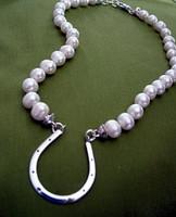 Large Horseshoe on Freshwater Pearl Necklace