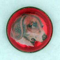 Original Dog on Red Bridle Rosette as Pin Brooch