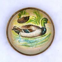 Original Ducks on White Bridle Rosette as Pin Brooch