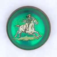 Original Uniformed Rider on White Horse on Green Bridle Rosette as PIN