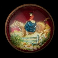Original Woman on Horse with Hound Bridle Rosette as Pin