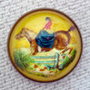 Original Woman Side Saddle on Yellow Bridle Rosette as Pin