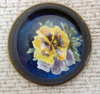 Original Yellow Pansy on Blue Bridle Rosette Pin