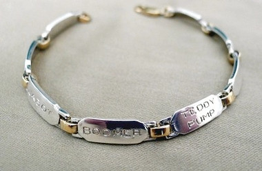 Our Custom SSA Handmade NAMEPLATE BRACELET 14k Gold and Sterling Silver