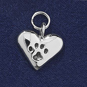 Sterling Silver Pawprints on Your Heart Charm or Pendant