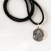 "Soft black leather cord with sterling silver fittings. Adjustable 16-18""."